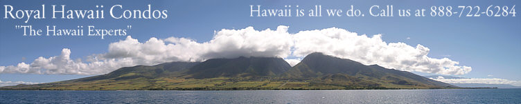"Royal Hawaii Condos,""The Hawaii Experts"" Reservations: 888-722-6284. Hawaii vacation rentals on all of the islands.  This panoramic photo is of Maui, looking toward Lahaina. Haleakala is the mountain on the right."